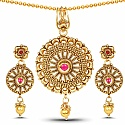 Traditional Gold Plated Pink Glass Stone Pendant Set For Wom