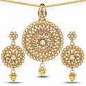Traditional Gold Plated Multi Stone Pendant Set For Women
