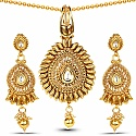 Traditional Polki Stones Studded Pendant Set For Women