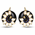 Fashion Enamel Gold Plated Peacock Inspired Black Stone Pend