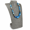 Gold Plated Blue Agate & Pearl Statement Necklace for Women