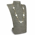 Fashion Statement Gold Plated White Glass & Pearl Necklace f