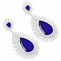 25.49 Grams Blue Glass & White Cubic Zirconia Rhodium Plated