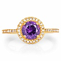 Gold Plated Fashion Statement Amethyst Solitaire Cubic Zirco