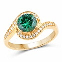 Gold Plated Fashion Statement Green Solitaire Cubic Zirconia