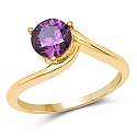Designer Gold Plated Studded Amethyst Cubic Zirconia Stone R