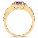 Gold Plated Designer Amethyst Solitaire Cubic Zirconia Ring