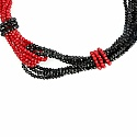 Fashion Contemporary Red & Black Beaded Choker Necklace For