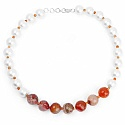 Fashion Contemporary White Pearl Adorned Choker Necklace Set
