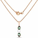 Pearl & Green Cubic Zirconia Rose Gold Plated Brass Pendant