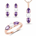 Pearl & Purple Cubic Zirconia Rose Gold Plated Brass Pendant