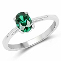 Oval Shape Green Cubic Zirconia .925 Sterling Silver Solitai