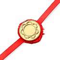INDIAN TOUCH Gold Plated Brass Lotus Yantra Embossed Coin Rakhi