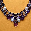 97.40 Grams Amethyst &amp; Pearl .925 Sterling Silver Necklace