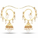 Designer Gold Plated Temple Jhumki Earrings For Women
