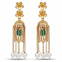 Designer Gold Plated Floral Shape Earrings For Women