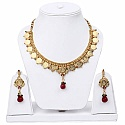 Traditional Gold Plated Temple Coin Necklace Set