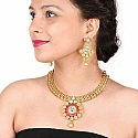 Johareez Multistone Gold Plated Pink & Green Enamel  Necklace S