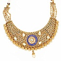 Johareez Multistone Gold Plated Blue & Green Enamel  Necklac