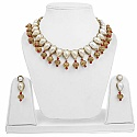 Goldplated Fashion Ethnic White Pearl Choker Necklace Set fo