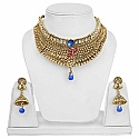 Ethnic Traditional Goldplated Fashion Choker Pearl Drop Neck