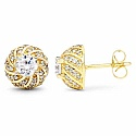 White Cubic Zirconia Gold Plated Brass Earrings