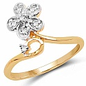 1.83 Grams White Cubic Zirconia Gold Plated Brass Ring