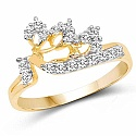 1.24 Grams White Cubic Zirconia Gold Plated Brass Ring