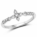 1.00 Grams White Cubic Zirconia Rhodium Plated Brass Ring