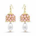Pink Pachi Gold Plated Brass Earrings