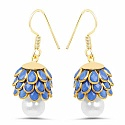Blue Stone & White Synthetic Pearl Gold Plated Brass Pacchi