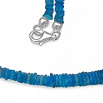 66.10CTW Neon Apatite 33CM Long .925 Sterling Silver Beads Neck