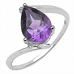 1.23CTW Genuine Amethyst .925 Sterling Silver Ring