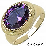 6.30CTW Amethyst Cubic Zirconia 14K Yellow Gold Plated Brass Ri