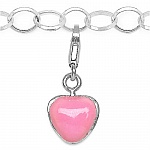 6.46 Grams Rhodium Plated .925 Sterling Silver Pink Enamel Char