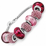 24.52 Grams Pink Italian Murano Glass & Pink Crystal Sterlin