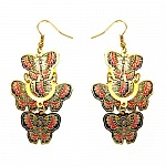 4.09 Grams Gold Plated Butterfly Shape Multicolored Enamel P