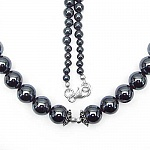 "88.20 Grams Hematite 17.50"" Long .925 Sterling Silver Beads"