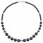 "55.10 Grams Hematite 17.50"" Long .925 Sterling Silver Beads"