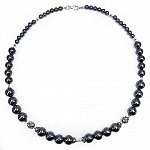72.60 Grams Hematite 18.00 Inches Long .925 Sterling Silver Bea