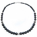73.90 Grams Hematite 18.00 Inches Long .925 Sterling Silver Bea