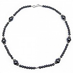 "43.50 Grams Hematite 18.00"" Long .925 Sterling Silver Beads"