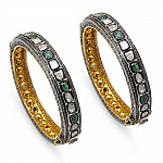 INDIAN TOUCH Emerald, White Diamond & Diamond Polki Two Tone