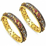 INDIAN TOUCH Ruby, White Diamond & Diamond Polki Two Tone Pl