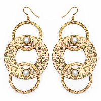 20.80 Grams White Synthetic Pearl Gold Plated Brass Earrings