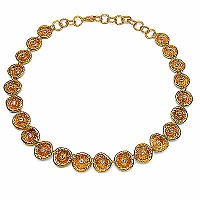 94.30 Grams Genuine White Topaz Gold Plated Brass Necklace