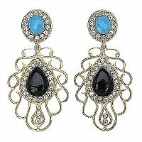 30.00 Grams Gold Plated Earrings with Combination of Turquoise