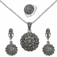 19.50 Grams Marcasite .925 Sterling Silver Pendant Set