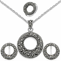 22.40 Grams Marcasite .925 Sterling Silver Pendant Set