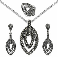 17.00 Grams Marcasite .925 Sterling Silver Pendant Set